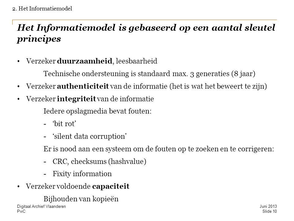 PwC Het Informatiemodel is gebaseerd op een aantal sleutel principes Verzeker duurzaamheid, leesbaarheid Technische ondersteuning is standaard max.