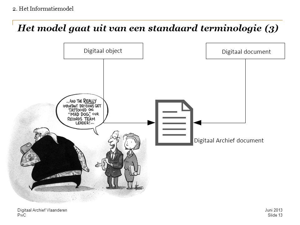 PwC Het model gaat uit van een standaard terminologie (3) 2. Het Informatiemodel Digitaal object Digitaal document Digitaal Archief document Slide 13
