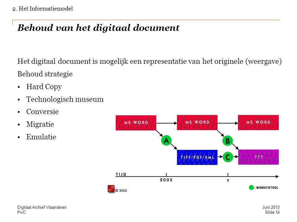 PwC Behoud van het digitaal document Het digitaal document is mogelijk een representatie van het originele (weergave) Behoud strategie Hard Copy Techn