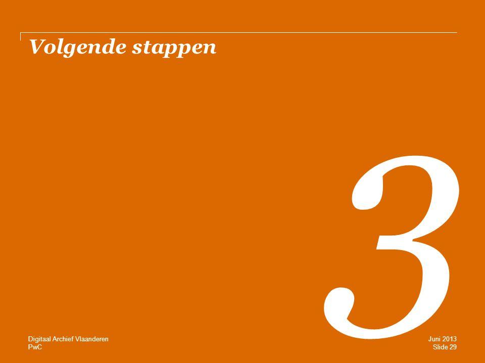 PwC Volgende stappen 3 Slide 29 Juni 2013 Digitaal Archief Vlaanderen