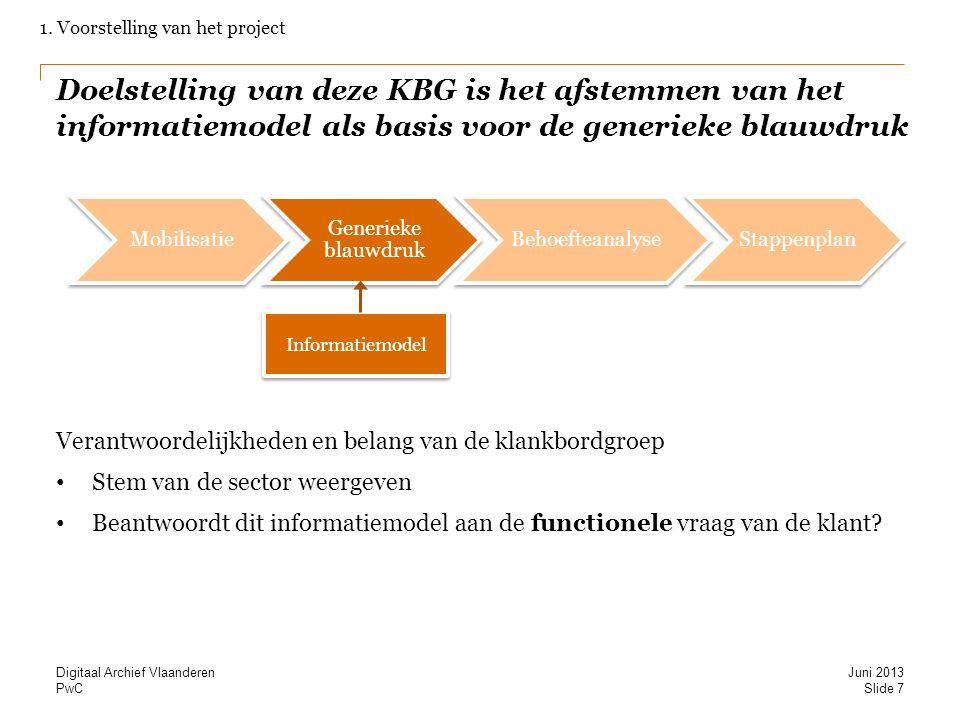 PwC Doelstelling van deze KBG is het afstemmen van het informatiemodel als basis voor de generieke blauwdruk Verantwoordelijkheden en belang van de kl