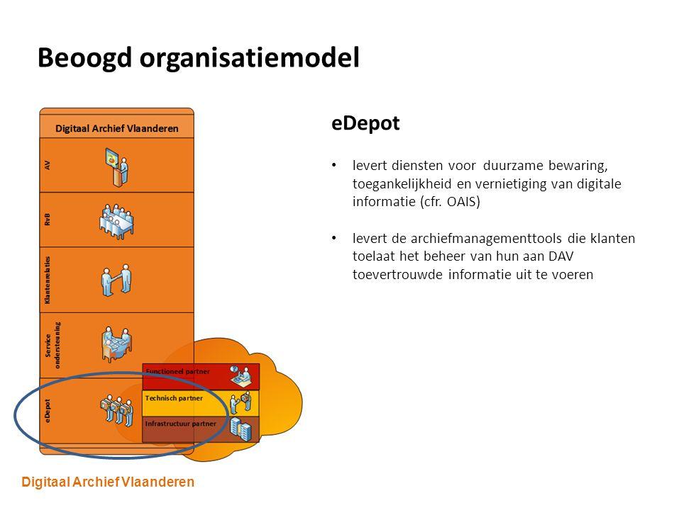 Digitaal Archief Vlaanderen Beoogd organisatiemodel eDepot levert diensten voor duurzame bewaring, toegankelijkheid en vernietiging van digitale informatie (cfr.