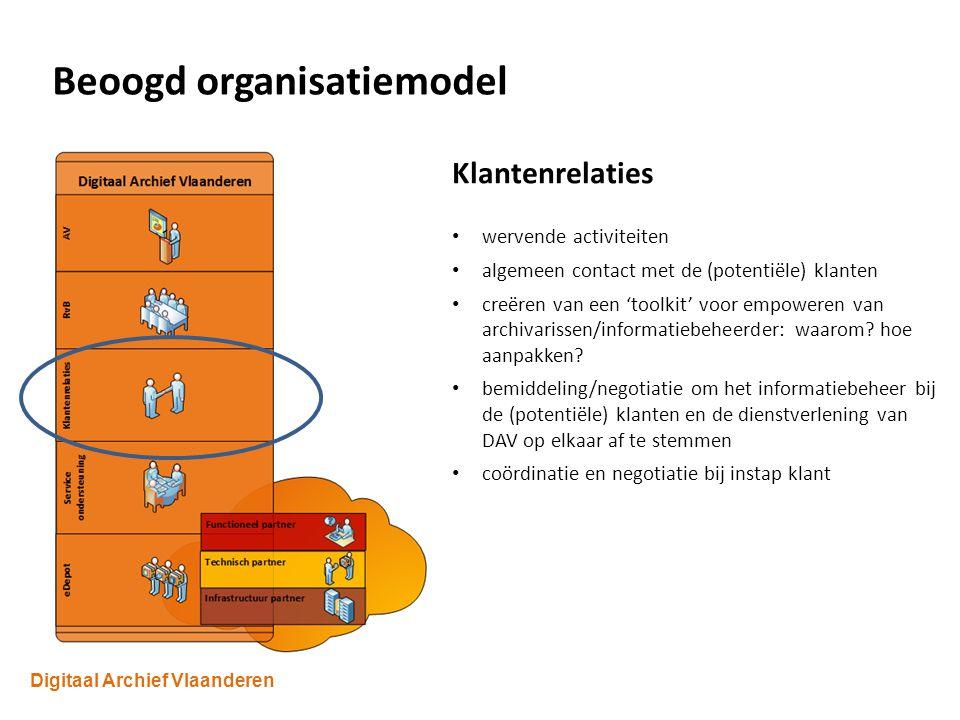 Digitaal Archief Vlaanderen Beoogd organisatiemodel Klantenrelaties wervende activiteiten algemeen contact met de (potentiële) klanten creëren van een 'toolkit' voor empoweren van archivarissen/informatiebeheerder: waarom.