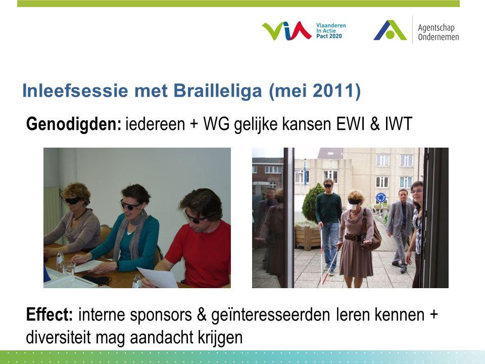 Inleefsessie met Brailleliga (mei 2011) Genodigden: iedereen + WG gelijke kansen EWI & IWT Effect: interne sponsors & geïnteresseerden leren kennen + diversiteit mag aandacht krijgen