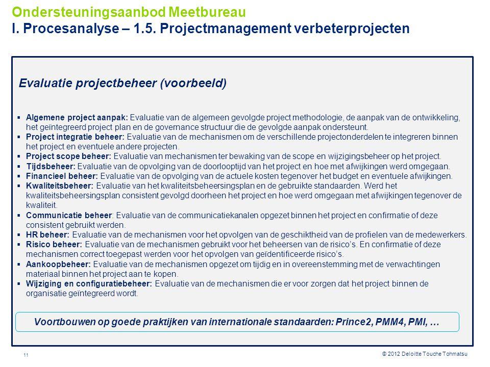 11 © 2012 Deloitte Touche Tohmatsu Evaluatie projectbeheer (voorbeeld)  Algemene project aanpak: Evaluatie van de algemeen gevolgde project methodolo