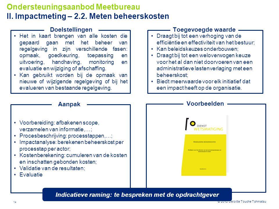 14 © 2012 Deloitte Touche Tohmatsu Draagt bij tot een verhoging van de efficiëntie en effectiviteit van het bestuur; Kan beleidskeuzes onderbouwen; Dr