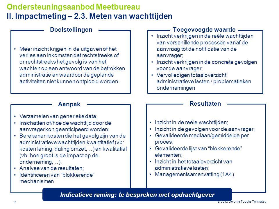 16 © 2012 Deloitte Touche Tohmatsu Inzicht verkrijgen in de reële wachttijden van verschillende processen vanaf de aanvraag tot de notificatie van de