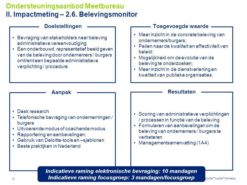 19 © 2012 Deloitte Touche Tohmatsu Meer inzicht in de concrete beleving van ondernemers/burgers; Peilen naar de kwaliteit en effectiviteit van beleid;