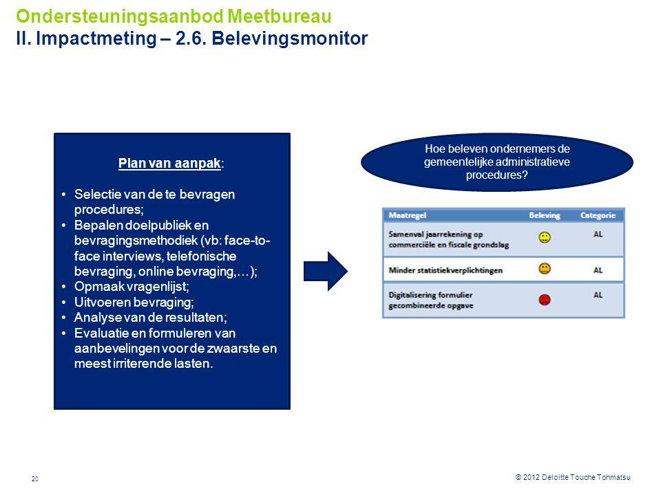 20 © 2012 Deloitte Touche Tohmatsu Ondersteuningsaanbod Meetbureau II. Impactmeting – 2.6. Belevingsmonitor Plan van aanpak: Selectie van de te bevrag