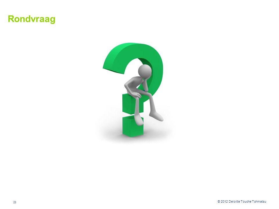 28 © 2012 Deloitte Touche Tohmatsu Rondvraag
