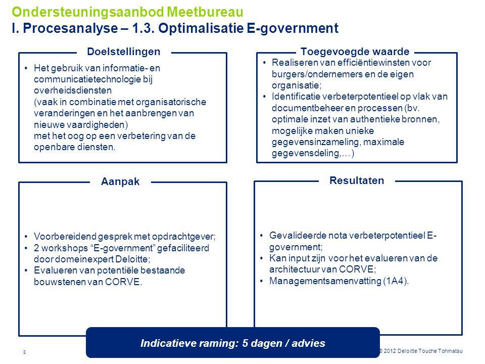 8 © 2012 Deloitte Touche Tohmatsu Realiseren van efficiëntiewinsten voor burgers/ondernemers en de eigen organisatie; Identificatie verbeterpotentieel
