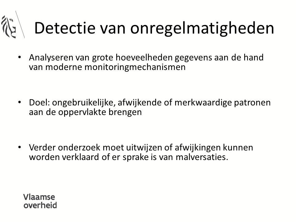 Detectie van onregelmatigheden Analyseren van grote hoeveelheden gegevens aan de hand van moderne monitoringmechanismen Doel: ongebruikelijke, afwijke
