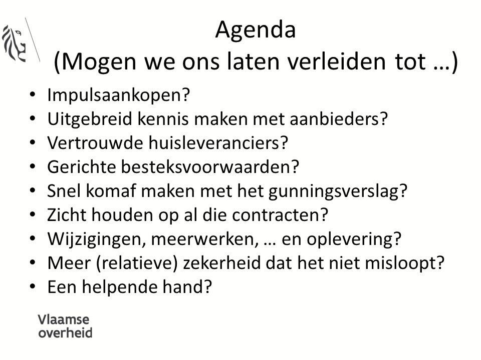 Agenda (Mogen we ons laten verleiden tot …) Impulsaankopen? Uitgebreid kennis maken met aanbieders? Vertrouwde huisleveranciers? Gerichte besteksvoorw