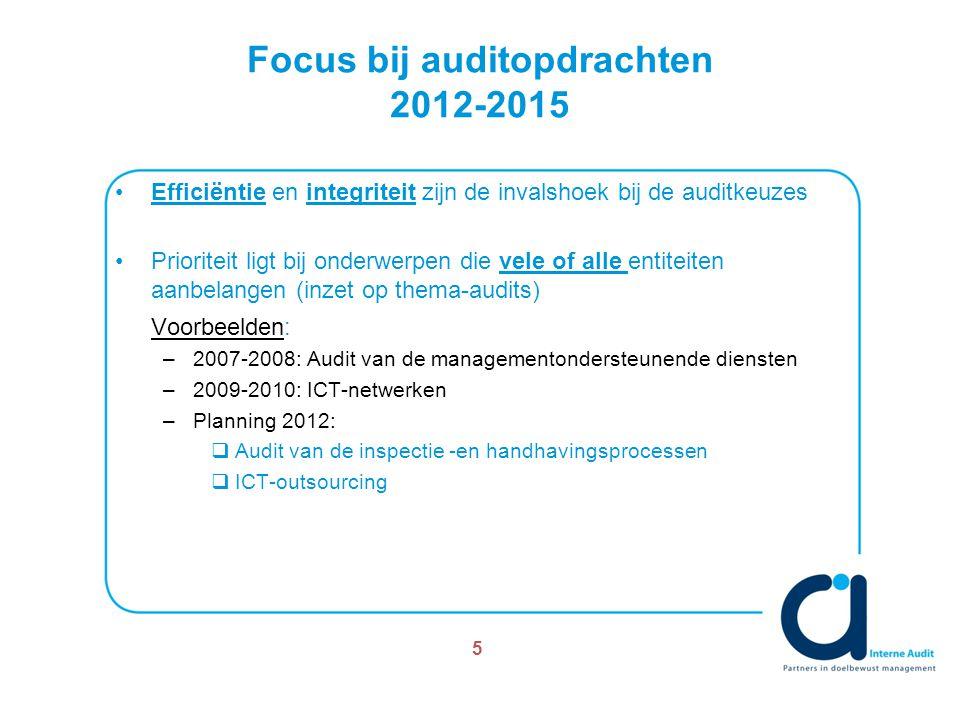 Focus bij auditopdrachten 2012-2015 Efficiëntie en integriteit zijn de invalshoek bij de auditkeuzes Prioriteit ligt bij onderwerpen die vele of alle entiteiten aanbelangen (inzet op thema-audits) Voorbeelden: –2007-2008: Audit van de managementondersteunende diensten –2009-2010: ICT-netwerken –Planning 2012:  Audit van de inspectie -en handhavingsprocessen  ICT-outsourcing 5
