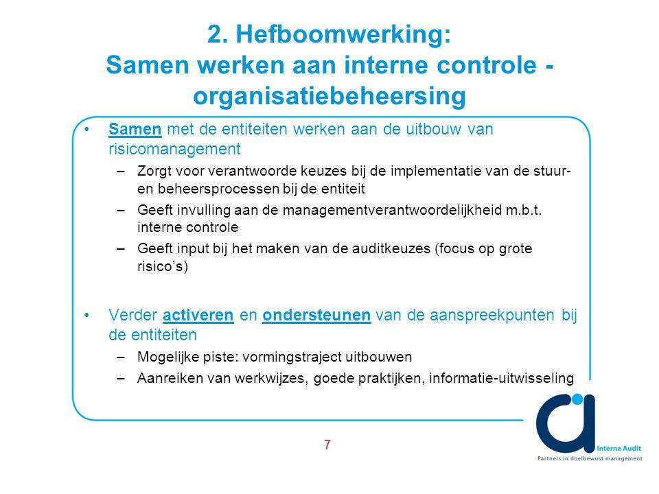 2. Hefboomwerking: Samen werken aan interne controle - organisatiebeheersing Samen met de entiteiten werken aan de uitbouw van risicomanagement –Zorgt
