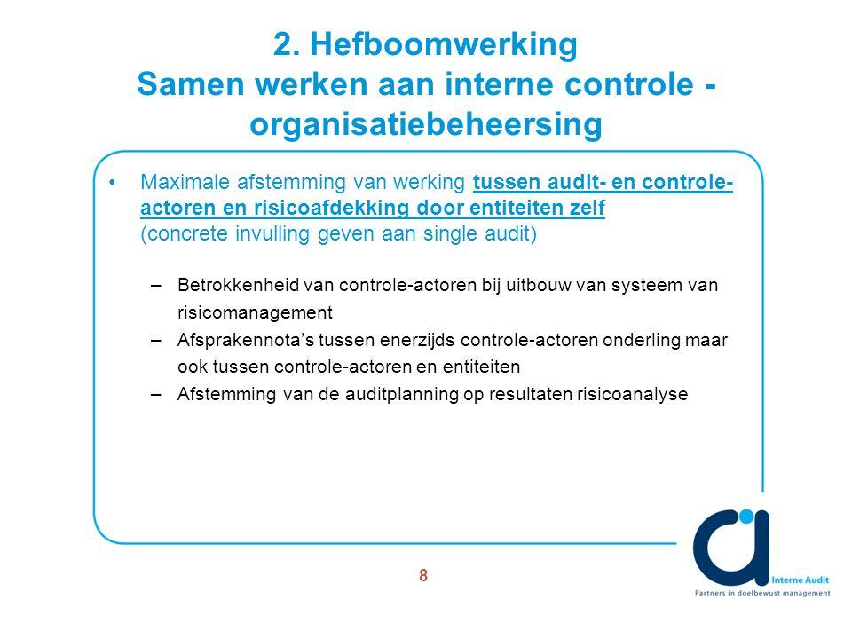 2. Hefboomwerking Samen werken aan interne controle - organisatiebeheersing Maximale afstemming van werking tussen audit- en controle- actoren en risi