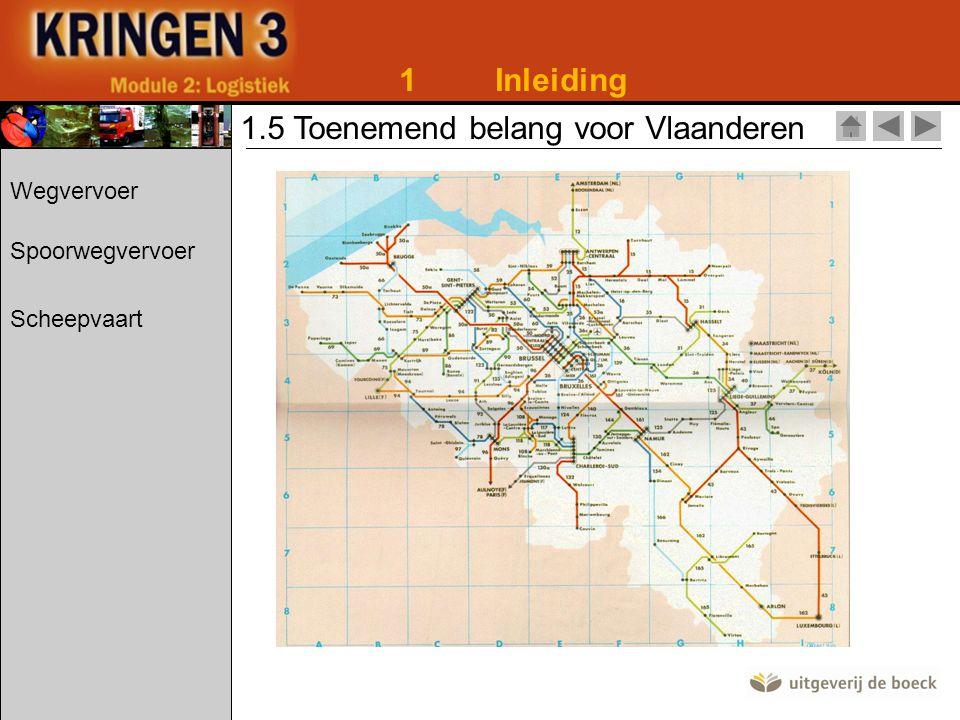 1Inleiding 1.5 Toenemend belang voor Vlaanderen Lengte van de bevaarbare Belgische wateren: -1 529,1 km Transport van goederen via de binnenwateren: - 106 978 miljoen ton Wegvervoer Spoorwegvervoer Scheepvaart
