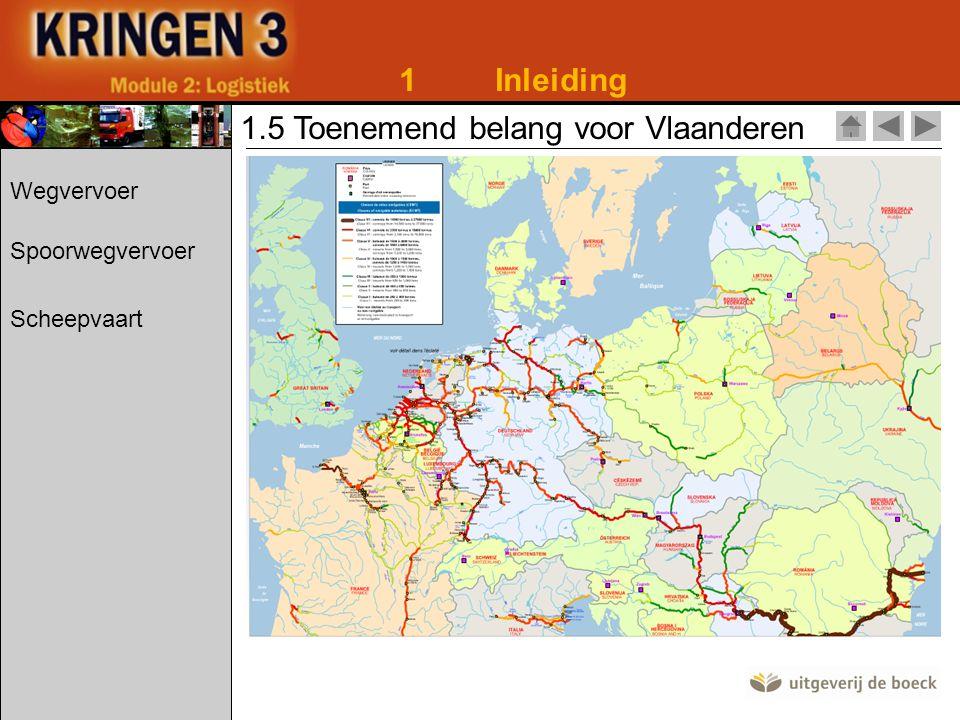 1Inleiding 1.5 Toenemend belang voor Vlaanderen Wegvervoer Spoorwegvervoer Scheepvaart