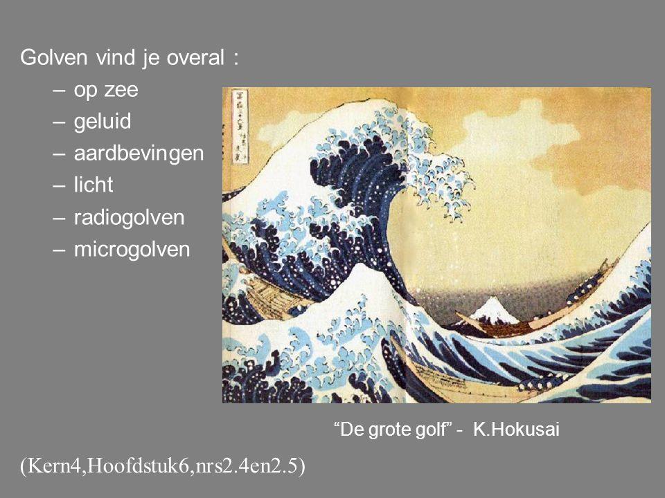 "Golven vind je overal : –op zee –geluid –aardbevingen –licht –radiogolven –microgolven ""De grote golf"" - K.Hokusai (Kern4,Hoofdstuk6,nrs2.4en2.5)"