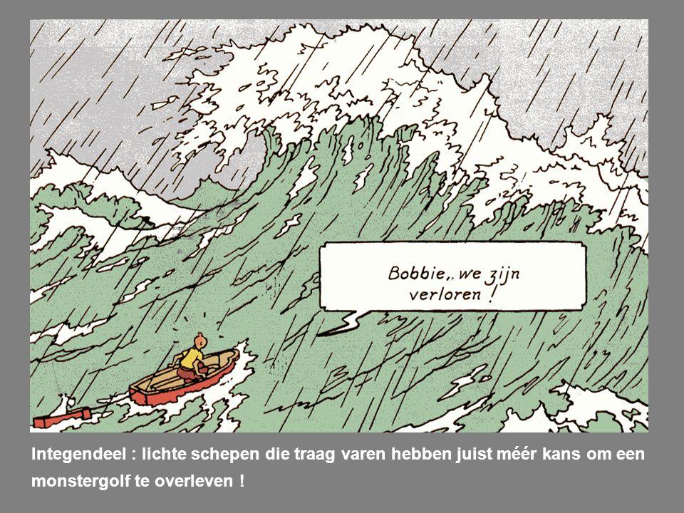 Integendeel : lichte schepen die traag varen hebben juist méér kans om een monstergolf te overleven !