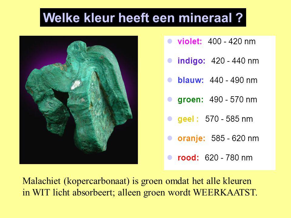 violet: 400 - 420 nm indigo: 420 - 440 nm blauw: 440 - 490 nm groen: 490 - 570 nm geel : 570 - 585 nm oranje: 585 - 620 nm rood: 620 - 780 nm Welke kl