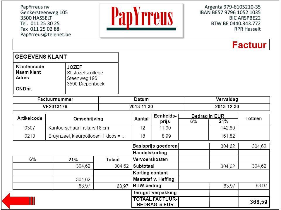 Factuur GEGEVENS KLANT Klantencode Naam klant Adres ONDnr. Artikelcode Omschrijving Eenheids- prijs Aantal FactuurnummerDatumVervaldag VF20131762013-1