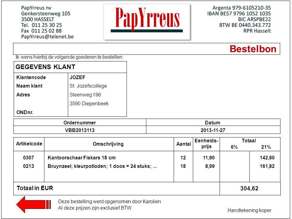 Bestelbon Ik wens hierbij de volgende goederen te bestellen. GEGEVENS KLANT Klantencode Naam klant Adres ONDnr. OrdernummerDatum VBB20131132013-11-27