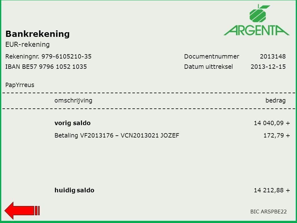 Bankrekening Rekeningnr. 979-6105210-35 IBAN BE57 9796 1052 1035 PapYrreus Documentnummer Datum uittreksel 2013148 2013-12-15 omschrijvingbedrag vorig