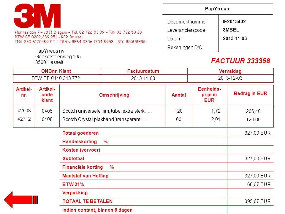 Hermeslaan 7 – 1831 Diegem – Tel. 02 722 53 39 – Fax 02 722 50 28 BTW BE 0202,239,951 – RPR Brussel ING 330-6170459-52 – IBAN BE64 3306 1704 5952 – BI