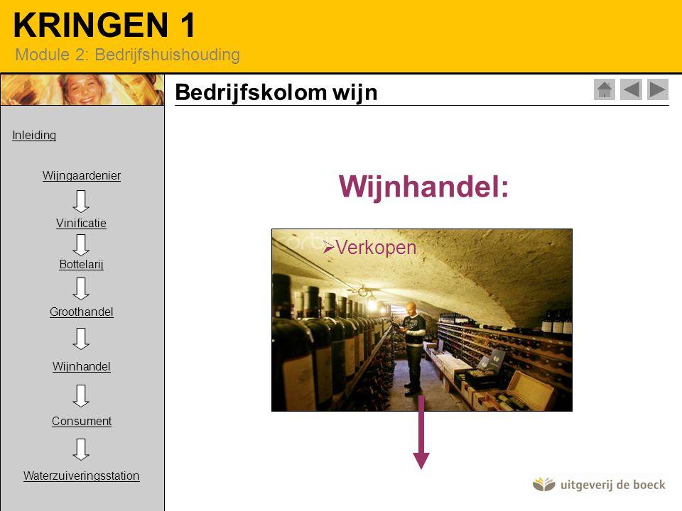 KRINGEN 1 Module 2: Bedrijfshuishouding Wijnhandel:  Verkopen Bedrijfskolom wijn Inleiding Wijngaardenier Vinificatie Bottelarij Groothandel Wijnhandel Consument Waterzuiveringsstation