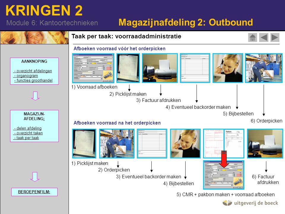 KRINGEN 2 Module 6: Kantoortechnieken Taak per taak: voorraadadministratie Magazijnafdeling 2: Outbound Afboeken voorraad vóór het orderpicken Afboeke
