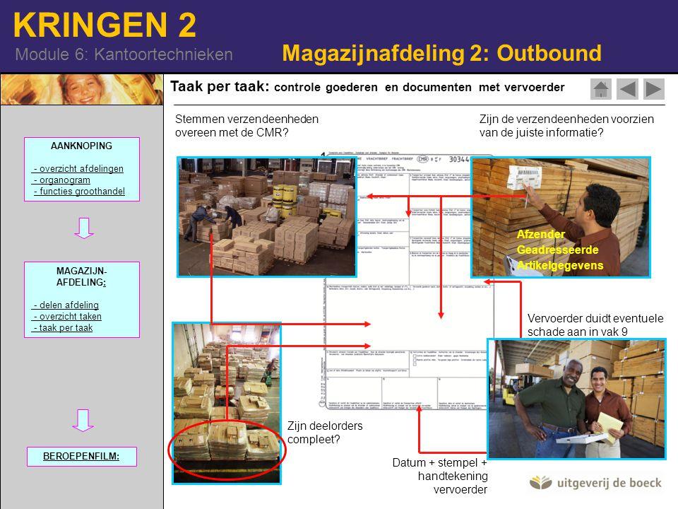 KRINGEN 2 Module 6: Kantoortechnieken Zijn deelorders compleet? Zijn de verzendeenheden voorzien van de juiste informatie? Afzender Geadresseerde Arti