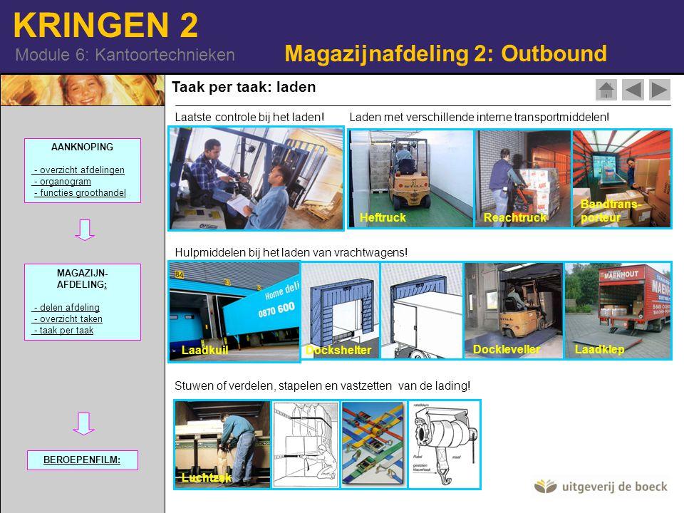 KRINGEN 2 Module 6: Kantoortechnieken Laatste controle bij het laden! Stuwen of verdelen, stapelen en vastzetten van de lading! Luchtzak Hulpmiddelen