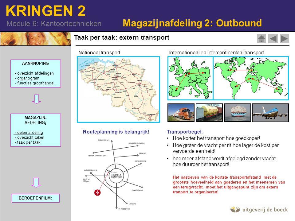 KRINGEN 2 Module 6: Kantoortechnieken Taak per taak: extern transport Magazijnafdeling 2: Outbound Nationaal transportInternationaal en intercontinentaal transport Routeplanning is belangrijk!Transportregel: Hoe korter het transport hoe goedkoper.