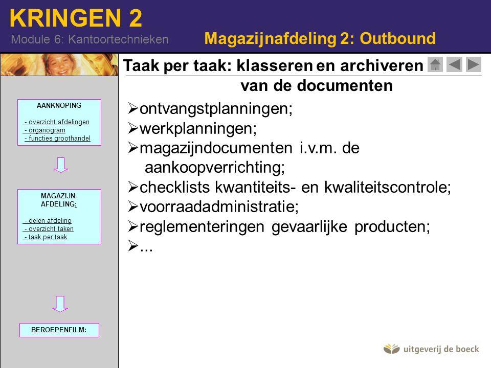 KRINGEN 2 Module 6: Kantoortechnieken Magazijnafdeling 2: Outbound Taak per taak: klasseren en archiveren van de documenten  ontvangstplanningen;  werkplanningen;  magazijndocumenten i.v.m.