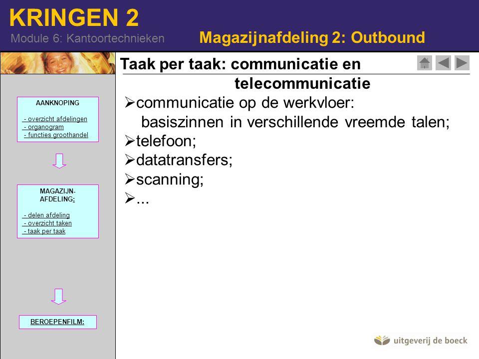KRINGEN 2 Module 6: Kantoortechnieken Magazijnafdeling 2: Outbound Taak per taak: communicatie en telecommunicatie  communicatie op de werkvloer: basiszinnen in verschillende vreemde talen;  telefoon;  datatransfers;  scanning; ...