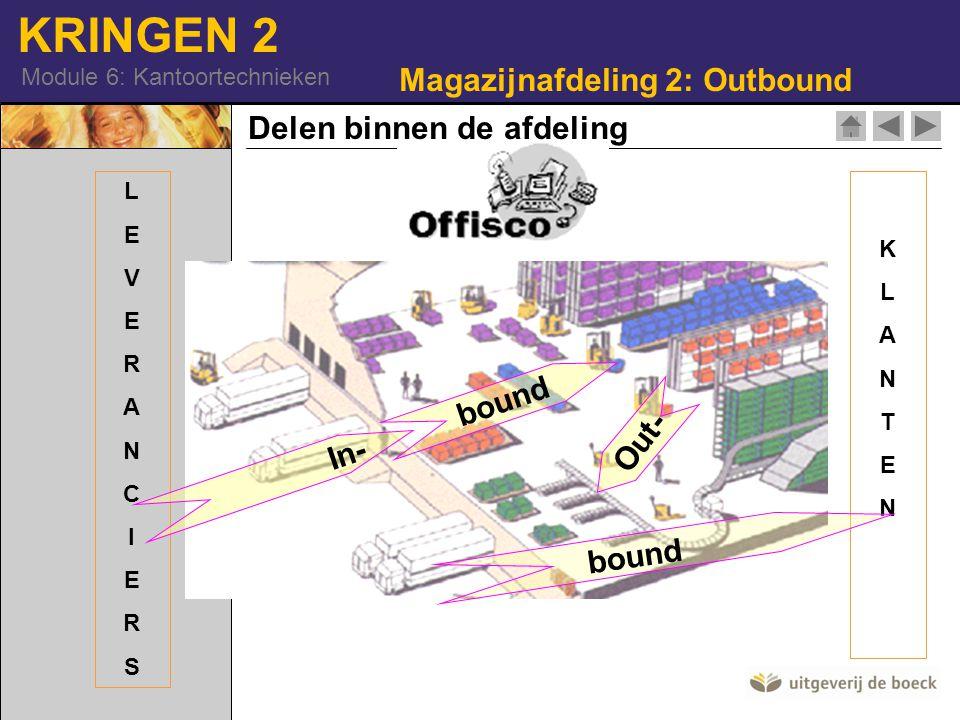 KRINGEN 2 Module 6: Kantoortechnieken KLANTENKLANTEN LEVERANCIERSLEVERANCIERS In- bound Out- Magazijnafdeling 2: Outbound Delen binnen de afdeling bou