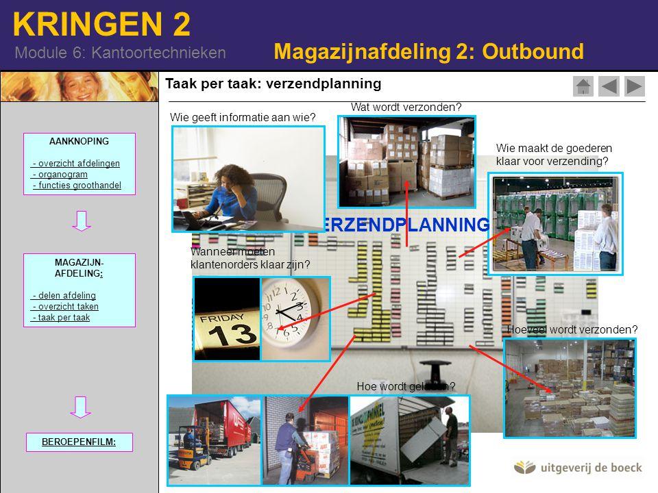 KRINGEN 2 Module 6: Kantoortechnieken Taak per taak: verzendplanning Magazijnafdeling 2: Outbound Wat wordt verzonden? Wie maakt de goederen klaar voo
