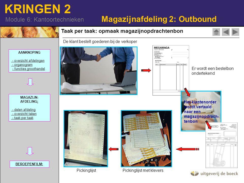 KRINGEN 2 Module 6: Kantoortechnieken Taak per taak: opmaak magazijnopdrachtenbon Magazijnafdeling 2: Outbound Er wordt een bestelbon ondertekend Het klantenorder wordt vertaald naar een magazijnopdrach- tenbon Pickinglijst met kleversPickinglijst AANKNOPING - overzicht afdelingen - organogram - functies groothandel MAGAZIJN- AFDELING:: - delen afdeling - overzicht taken - taak per taak BEROEPENFILM: De klant bestelt goederen bij de verkoper