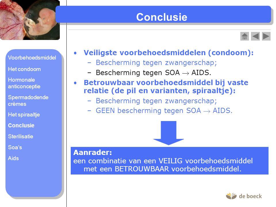 Conclusie Veiligste voorbehoedsmiddelen (condoom): –Bescherming tegen zwangerschap; –Bescherming tegen SOA  AIDS. Betrouwbaar voorbehoedsmiddel bij v