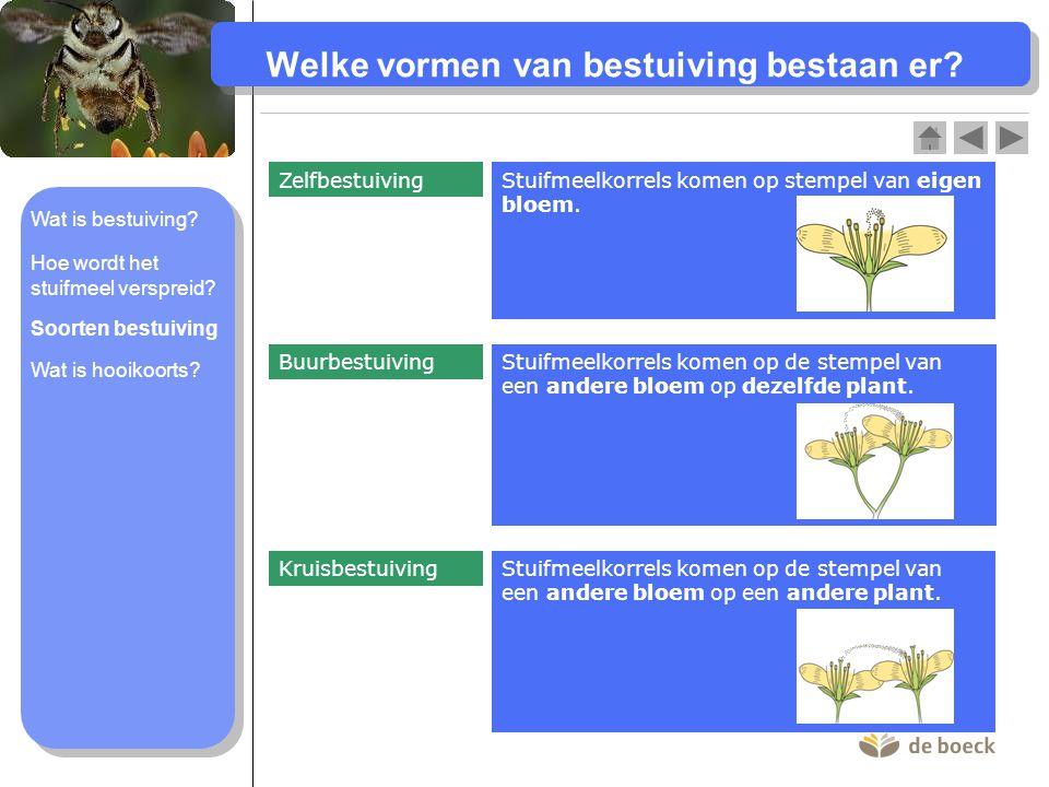 Welke vormen van bestuiving bestaan er.Stuifmeelkorrels komen op stempel van eigen bloem.