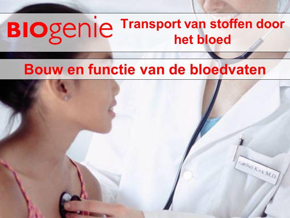 Transport van stoffen door het bloed Bouw en functie van de bloedvaten