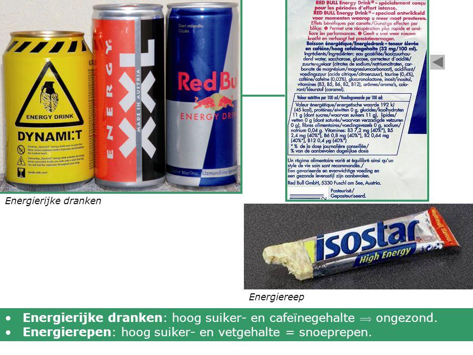 Energierijke dranken Energiereep Energierijke dranken: hoog suiker- en cafeïnegehalte  ongezond. Energierepen: hoog suiker- en vetgehalte = snoeprepe