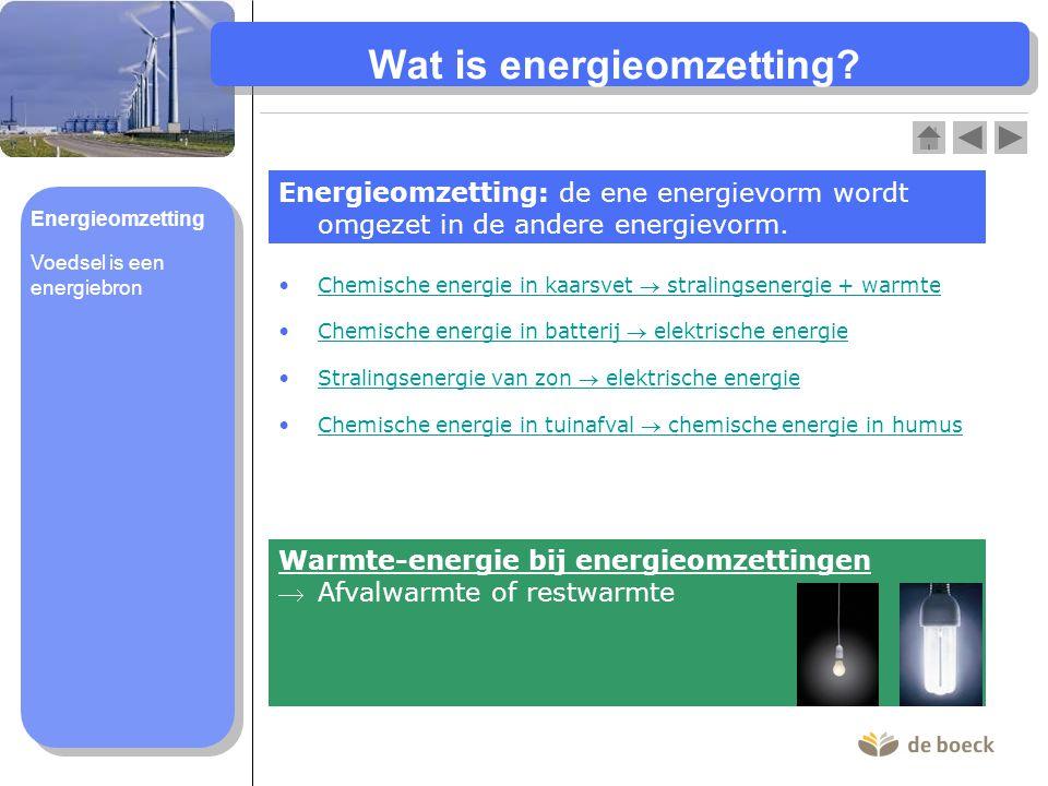 Wat is energieomzetting? Energieomzetting: de ene energievorm wordt omgezet in de andere energievorm. Chemische energie in kaarsvet  stralingsenergie