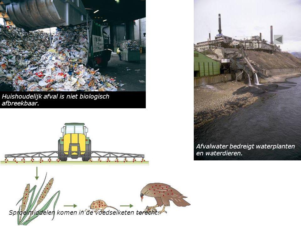 Sproeimiddelen komen in de voedselketen terecht. Huishoudelijk afval is niet biologisch afbreekbaar. Afvalwater bedreigt waterplanten en waterdieren.