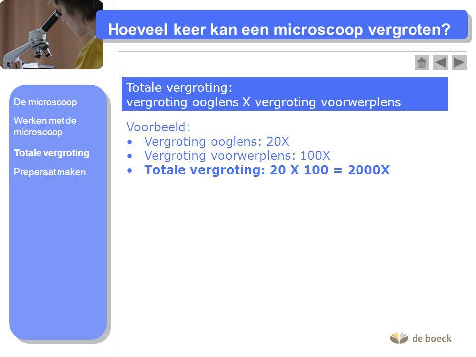 Hoeveel keer kan een microscoop vergroten? Totale vergroting: vergroting ooglens X vergroting voorwerplens Voorbeeld: Vergroting ooglens: 20X Vergroti