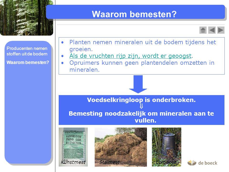 Planten nemen mineralen uit de bodem tijdens het groeien. Als de vruchten rijp zijn, wordt er geoogst.Als de vruchten rijp zijn, wordt er geoogst Opru