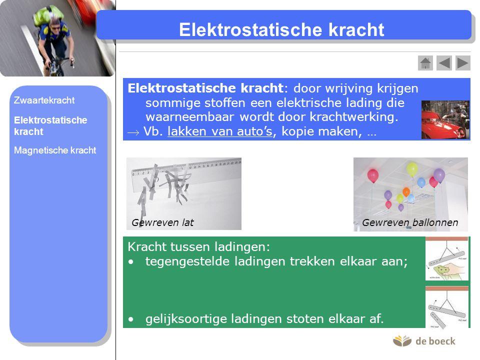 Elektrostatische kracht : door wrijving krijgen sommige stoffen een elektrische lading die waarneembaar wordt door krachtwerking.  Vb. lakken van aut