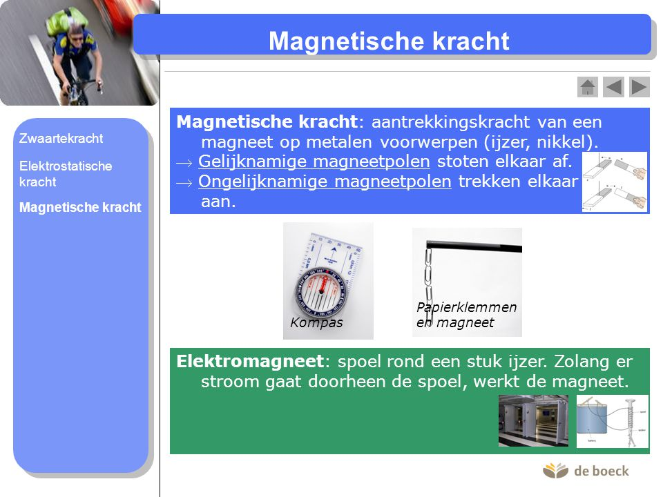 : aantrekkingskracht van een magneet op metalen voorwerpen (ijzer, nikkel).  Gelijknamige magneetpolen stoten elkaar af.  Ongelijknamige magneetpole