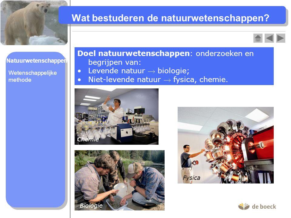 Wat bestuderen de natuurwetenschappen? Doel natuurwetenschappen: onderzoeken en begrijpen van: Levende natuur  biologie; Niet-levende natuur  fysica